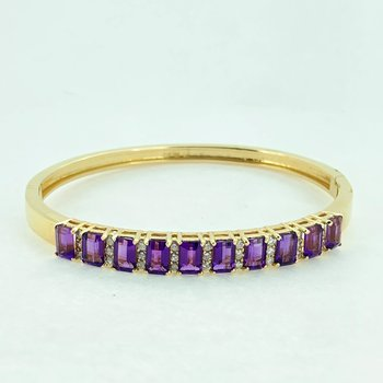 Amethyst & Diamond Bangle Bracelet