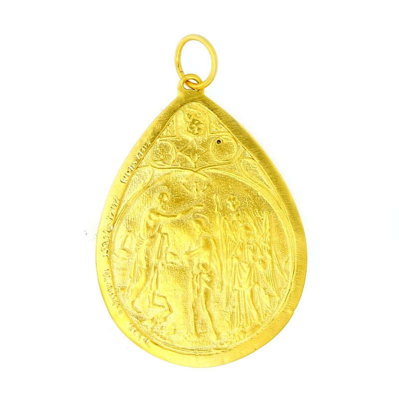 Kurtulan Ancient Coin Style Pendant with Diamond Accent