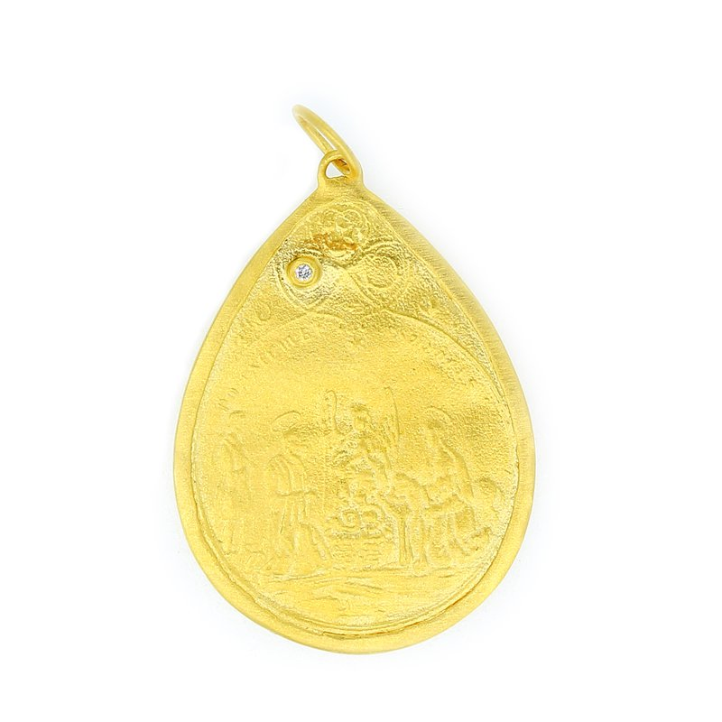 Kurtulan Ancient Coin Style Pendant with Diamond Accent