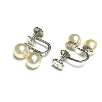 Double Pearl Screw Back Earrings