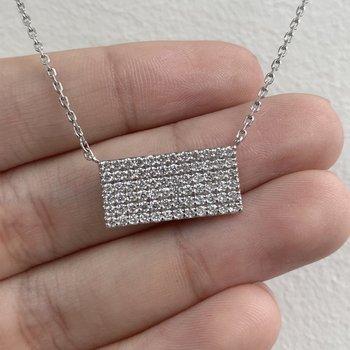 Pave Diamond Rectangular Necklace