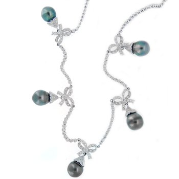 Elegant Black Pearl and Diamond Necklace