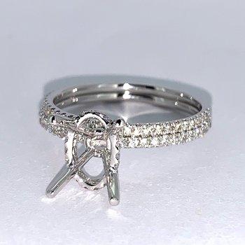 Oval Diamond Collar Ring Mounting Set
