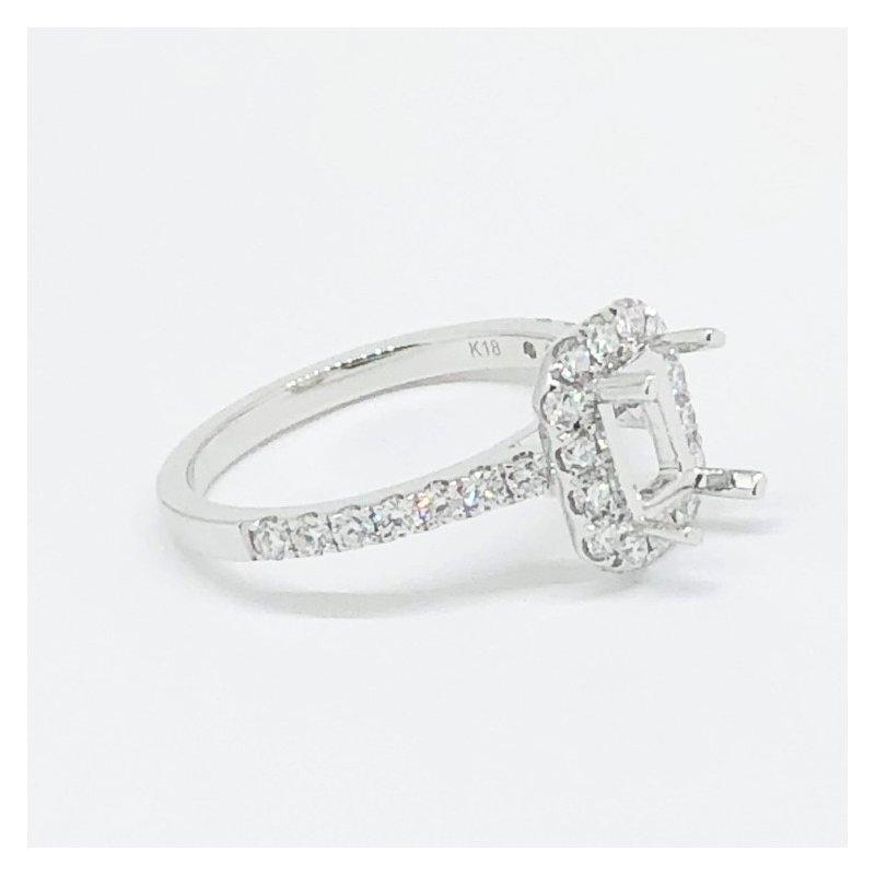 Decor Rectangular Diamond Halo Ring Mounting