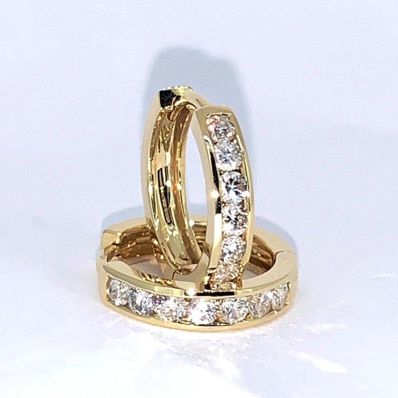 Decor Diamond Channel Hoop Earrings
