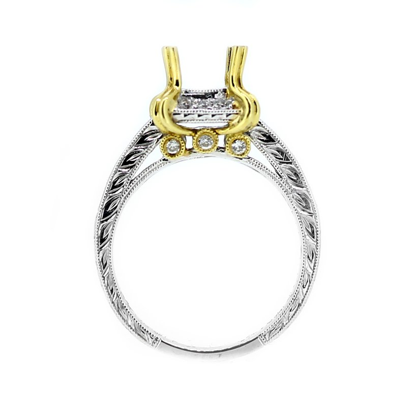 Decor Two Tone Gold & Diamond Ring Mounting