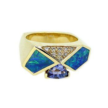 Tanzanite, Opal, & Diamond Ring