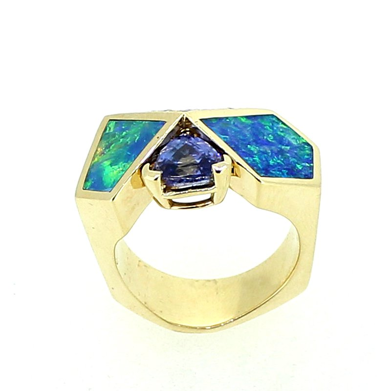 Decor Tanzanite, Opal, & Diamond Ring
