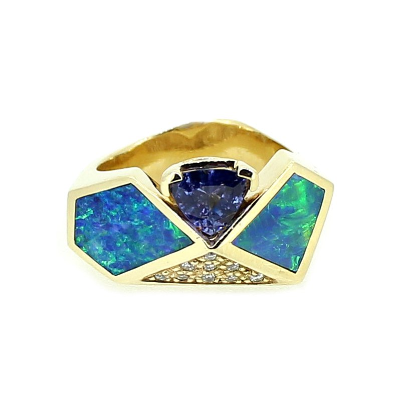 Decor Tanzanite, Opal, & Diamond Ring