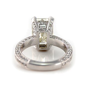 Emerald Cut Pave Diamond Ring