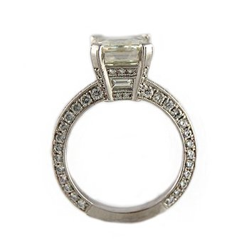 6.79ctw Pave Emerald Cut Diamond Ring