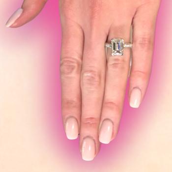 Emerald Cut Pave Diamond Ring