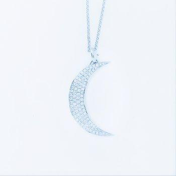 Diamond Pave Crescent Moon Necklace