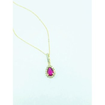 Pear Shape Ruby Halo Pendant