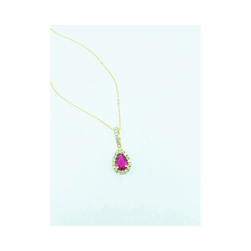 Decor Pear Shape Ruby Halo Pendant
