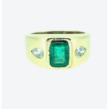 Emerald and Diamond Gent's Ring