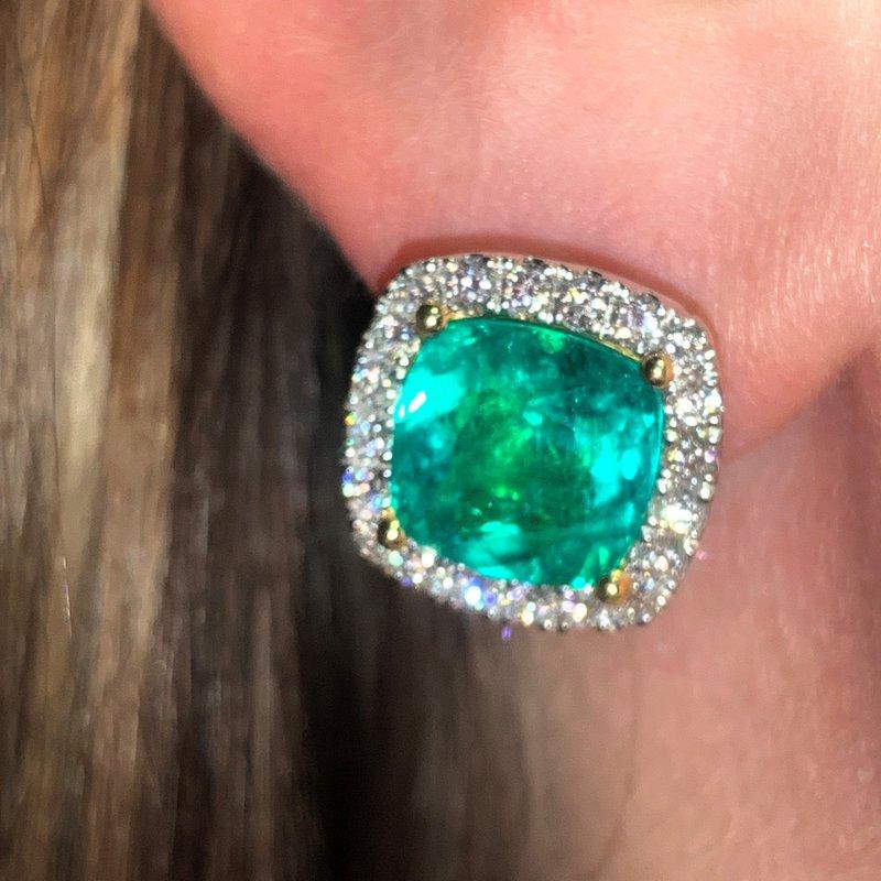 Decor Emerald & Diamond Halo Earrings