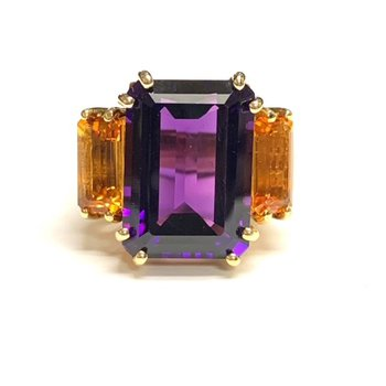 Amethyst and Citrine Cocktail Ring
