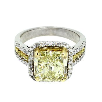 Fancy Yellow Cushion Halo Diamond Ring