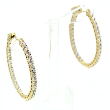 3.00ctw Diamond Oval Hoop Earrings