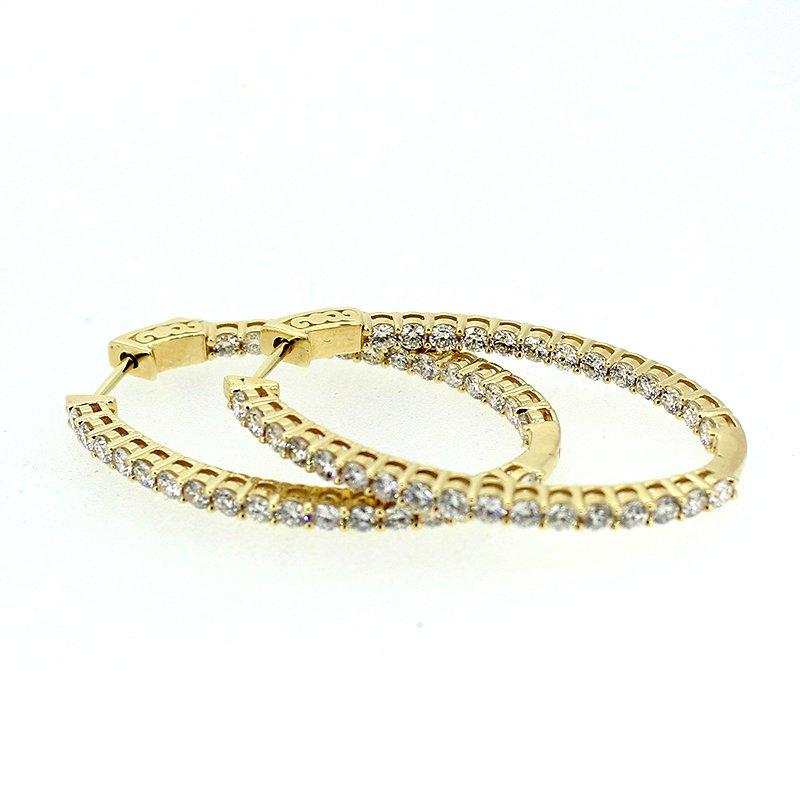 Decor 3.00ctw Diamond Oval Hoop Earrings