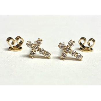 Dainty Diamond Cross Studs