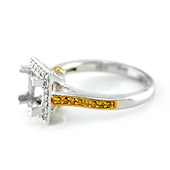 Halo Ring Mounting with Fancy Yellow Diamonds