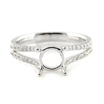 Double Row Open Split Diamond Ring Mounting