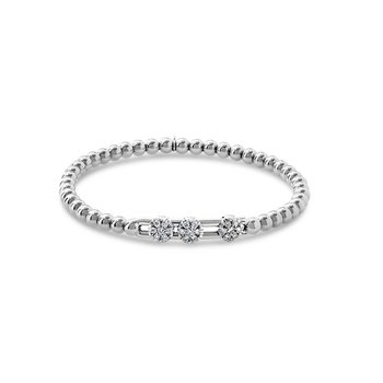 White Gold Beaded Diamond Slider Bracelet