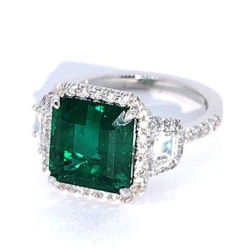 4.45ct Emerald & Diamond Platinum Ring