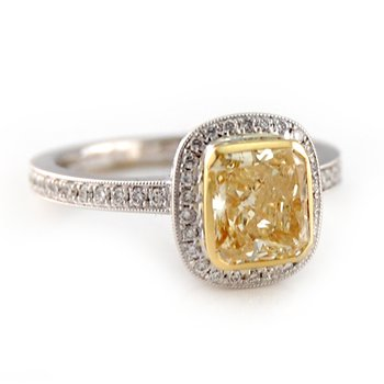 Fancy Light Yellow Radiant Diamond Halo Ring