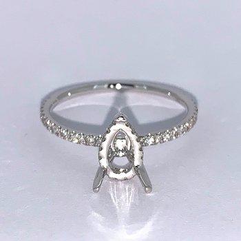 Pear Diamond Collar Engagement Ring Mounting