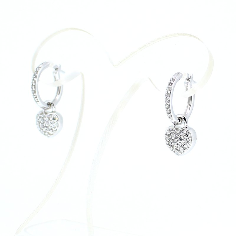 Decor Heart Charm Diamond Earrings