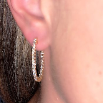 1.00ctw Diamond Oval Hoop Earrings