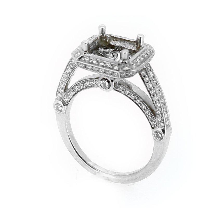 Decor Pave Diamond Halo Ring Mounting