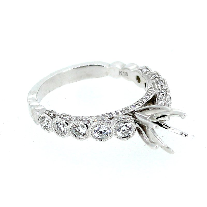 Decor Diamond Ring Mounting with Bezel Set Side Diamonds