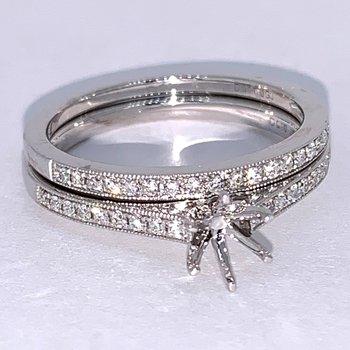 Diamond Engagement Ring Mounting & Matching Band
