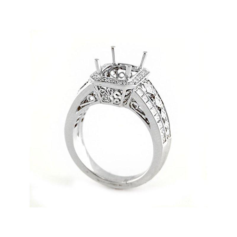 Decor Vintage Style Octagonal Halo Diamond Ring Mounting