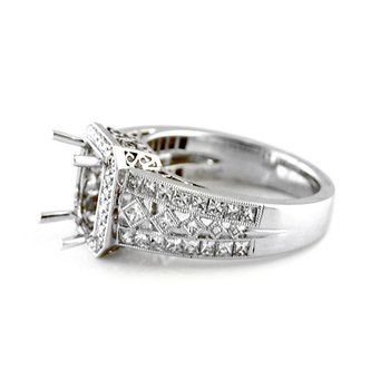 Vintage Style Octagonal Halo Diamond Ring Mounting