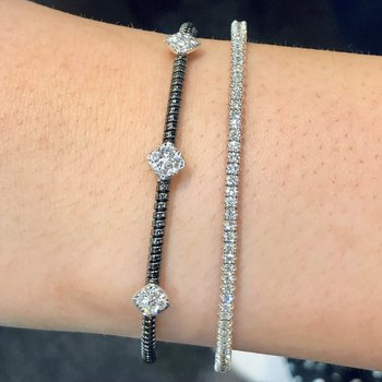 Black & White Gold Diamond Cuff Bracelet