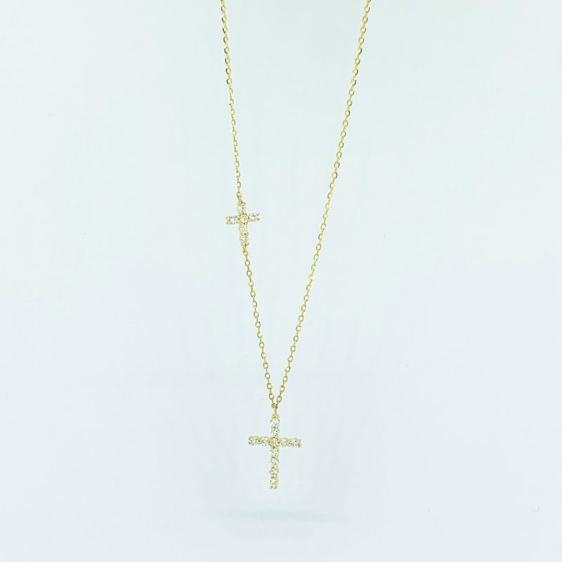 Decor Double Diamond Cross Necklace