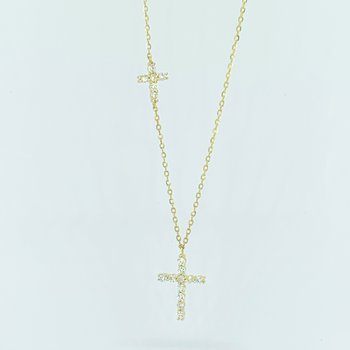 Double Diamond Cross Necklace