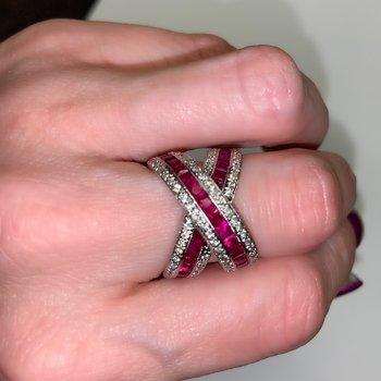 Ruby & Diamond Crossover Ring
