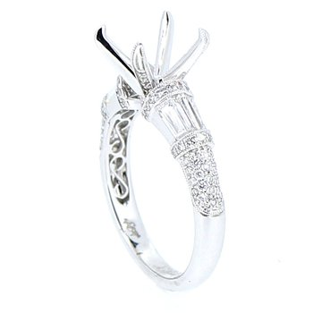 Baguette & Round Diamond Ring Mounting