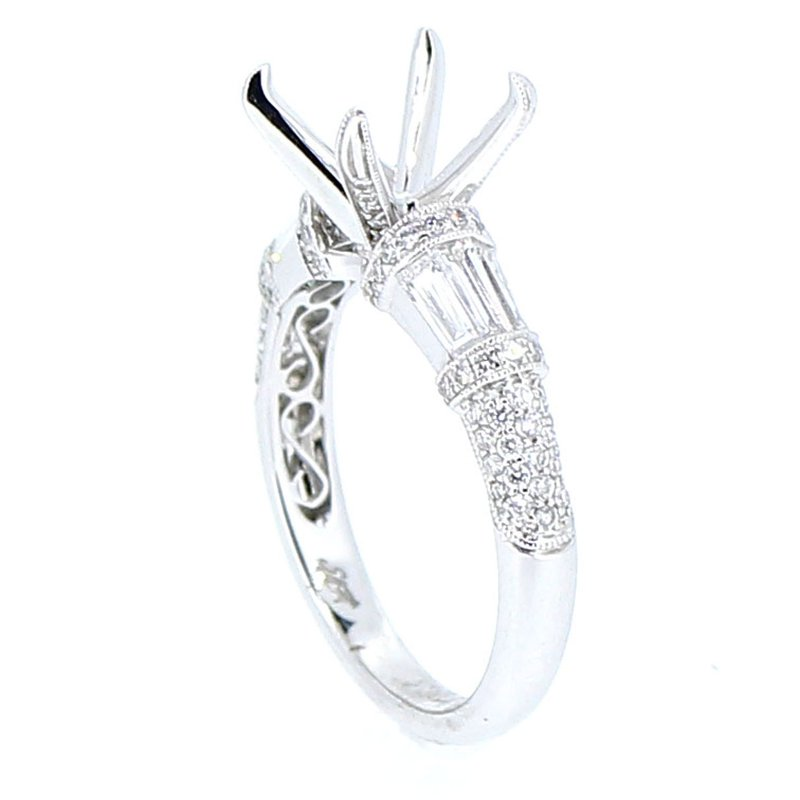Decor Baguette & Round Diamond Ring Mounting