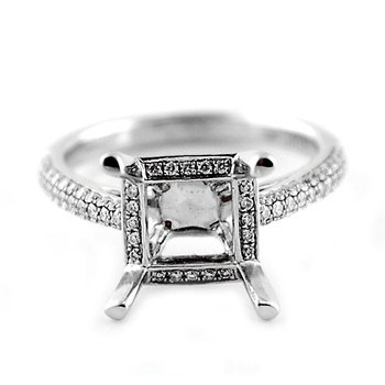 Square Micro Pave Diamond Ring Mounting