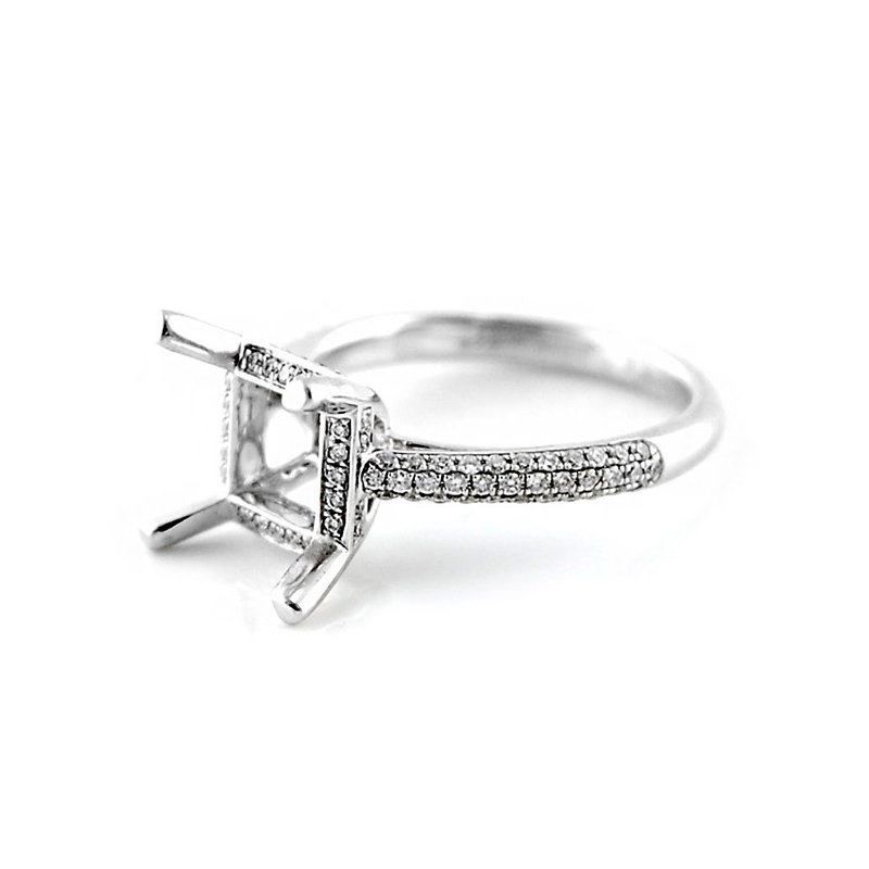 Decor Square Micro Pave Diamond Ring Mounting