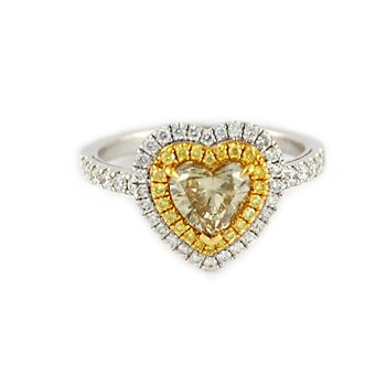 Fancy Yellow Heart Double Halo Diamond Ring