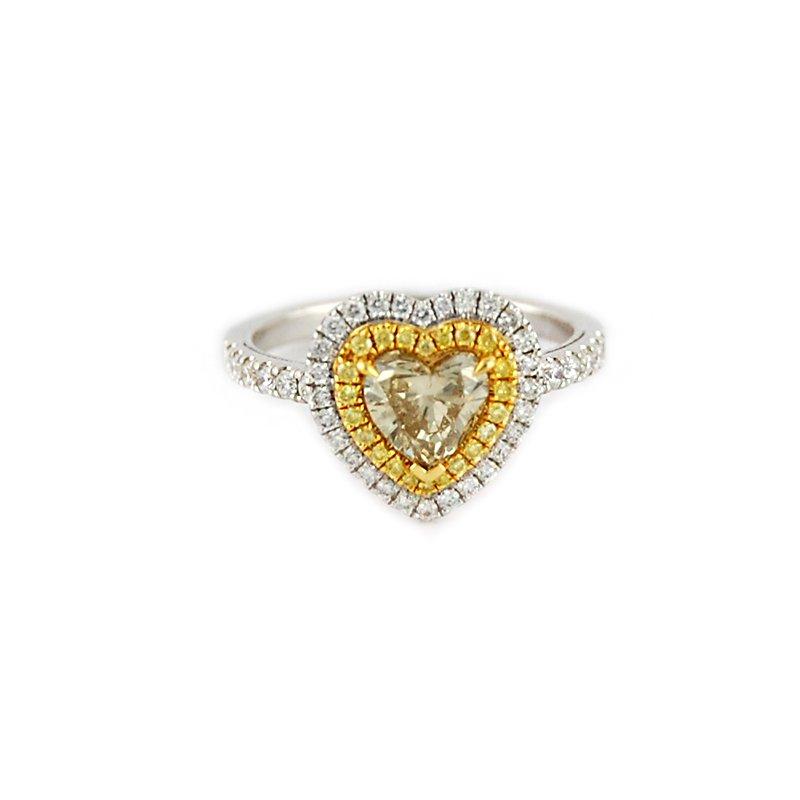 Decor Fancy Yellow Heart Double Halo Diamond Ring