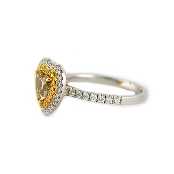 Fancy Yellow Heart Double Halo Diamond Ring